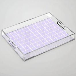 Lavender white minimalist grid pattern Acrylic Tray