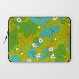 Green, Turquoise, and White Retro Flower Design Pattern Laptop Sleeve
