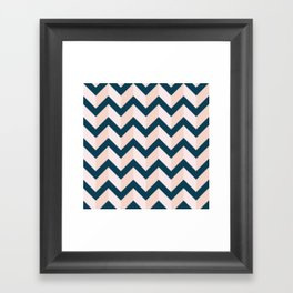 Blue and Shades of Pink Chevron Framed Art Print