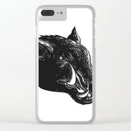Razorback Wild Boar Scratchboard Clear iPhone Case