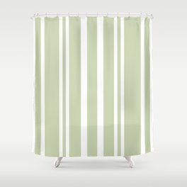 Plain Seafoam Green and White Stripes Design Shower Curtain