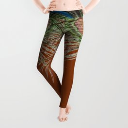 COFFEE BROWN BLUE-GREEN PEACOCK FEATHERS ART Leggings