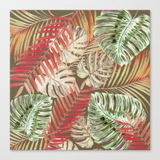 Jungle Tangle Red On Brown Canvas Print