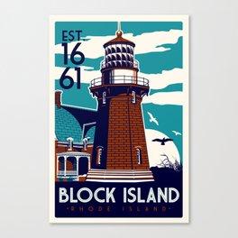 Block Island Southeast Light House Retro Vintage beach  Rhode Island Canvas Print