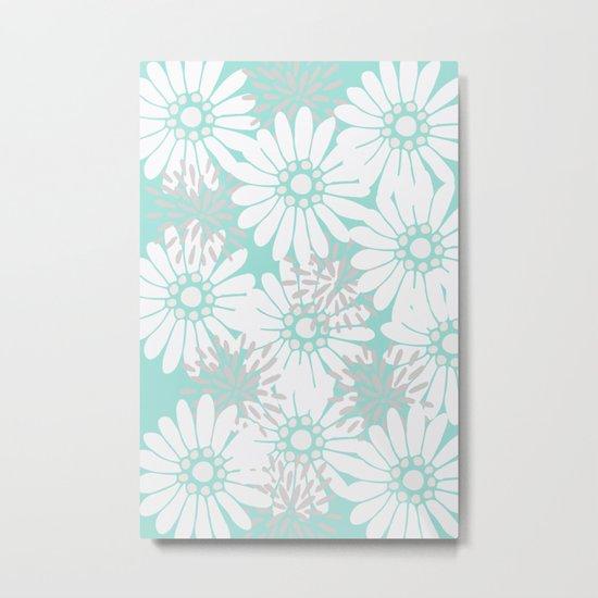Summer Flowers Turquoise Metal Print