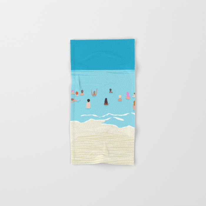 Stoked - memphis throwback retro neon pop art illustration socal cali beach surfing swimming sea Hand & Bath Towel
