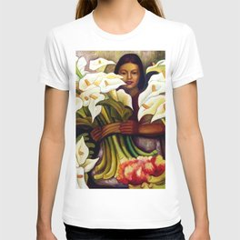 1938 Classical Masterpiece 'Alcatraces Flower Seller' by Diego Rivera T-shirt
