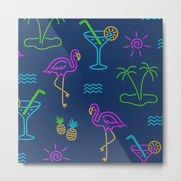 Neon Summer Fiesta, neon cocktails, flamingos & palms Metal Print