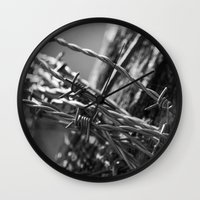 the wire Wall Clocks featuring Barbed Wire by Fine2art