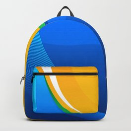 Shades of Blue, Green and Gold Curved Waves Backpack
