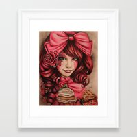 strawberry Framed Art Prints featuring Strawberry  by Sheena Pike Art & Illustration