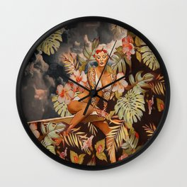 Swimming in the jungle Wall Clock