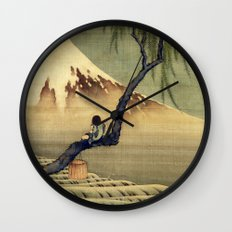 Katsushika Hokusai Boy Viewing Mount Fuji Wall Clock