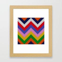 Knitted colorful chevron Framed Art Print