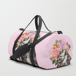 Owl with Flowers Crown in Pink Duffle Bag
