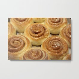 Homemade baking. Buns with milk cream and iced sugar. Metal Print