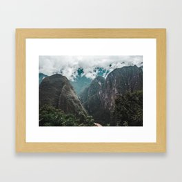 Blue morning mist over the Andes mountains and river near Machu Picchu, Peru Framed Art Print