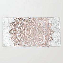 Boho Mandala - Rosegold on Marble Beach Towel