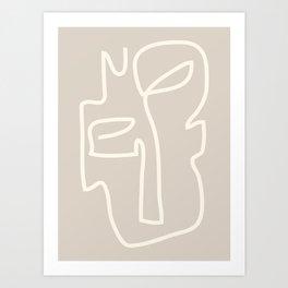 Abstract line art / Face/beige Art Print