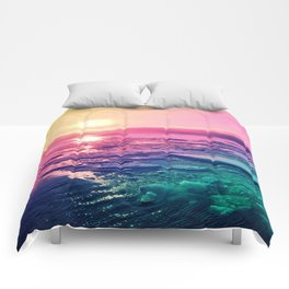 Pastel Sunset Waters Comforters