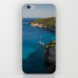 A picturesque Mediterranean view with yachts iPhone Skin