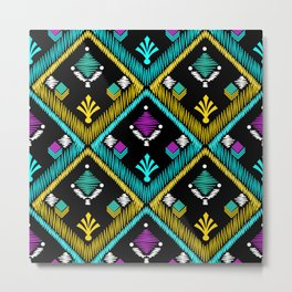 Abstract ethnic ornament. Black background . Metal Print
