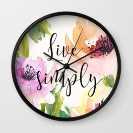 Live Simply - Floral Wall Clock