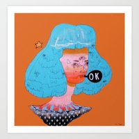 kim sy ok Art Prints featuring ok by Kira Leigh