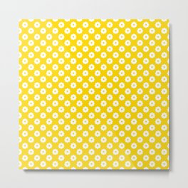 60s Ditsy Daisy Floral in Sunshine Yellow Metal Print