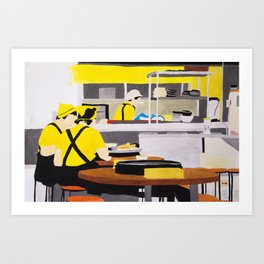 Yellow shirt Waitresses's Lunch Time Art Print