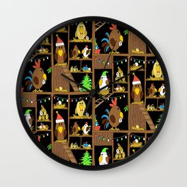 Chicken Coop Christmas - by Kara Peters - funny chickens, holidays Wall Clock