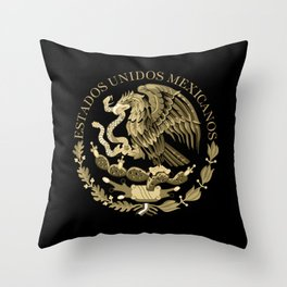 Mexican flag seal in sepia tones on black bg Throw Pillow