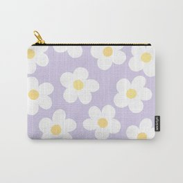 Lavender 70's Retro Flower Power Carry-All Pouch