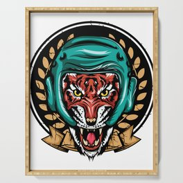 Looking for a Unique T-shirt Design Of A Tiger? Here's An Amazing T-shirt Tiger Wearing Helmet Serving Tray