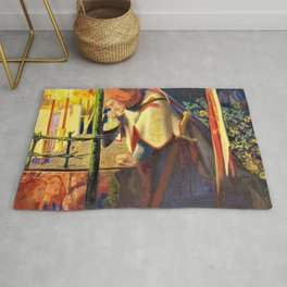 13,000px,600dpi-Dante Gabriel Rossetti - Sir Galahad at the ruined Chapel - Digital Remastered Edition Rug