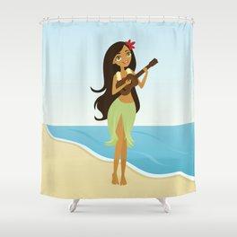 Ukulele Girl Shower Curtain