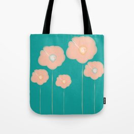 Poppies - pink and teal Tote Bag