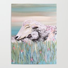 Mama Sheep and Baby Lamb Snuggling in the Meadow Poster