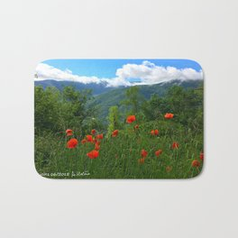 Wild poppies of the Pyrenees mountains Bath Mat