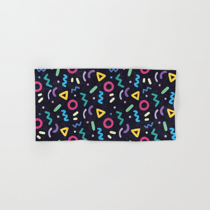 Black Memphis Pattern Hand & Bath Towel