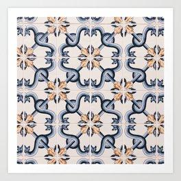 Blue Yellow Portugal Tiles #4 Art Print
