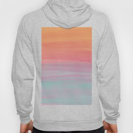 Abstract Orange Pink Teal Watercolor Sunset  Hoody