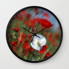 White Poppy Wall Clock