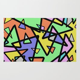 Triangulation - Geometric, pastel coloured abstract design, green, red, yellow, pink, blue Rug