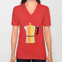 Retro Coffee Pot - Vintage Spring Colors on Cocoa Bean Background Unisex V-Neck