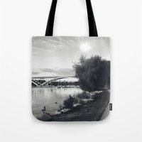 stockholm Tote Bags featuring Stockholm 01 by Viviana Gonzalez