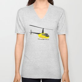 Light Black and Yellow Helicopter Unisex V-Neck