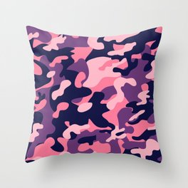 Pink Purple Camouflage Throw Pillow