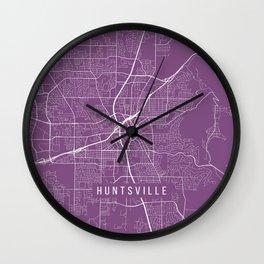 Huntsville Map, USA - Purple Wall Clock