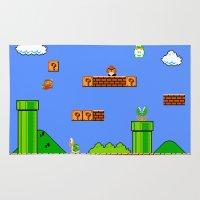 super mario Area & Throw Rugs featuring Mario by idaspark